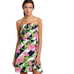 Lilly Pulitzer Flor Strapless Ruffle Dress S